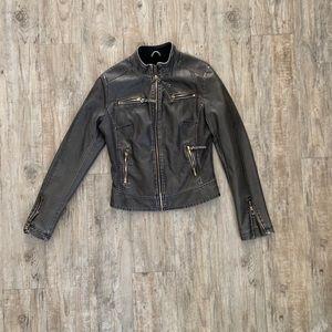 Fleece lined motto jacket w/gold zippers